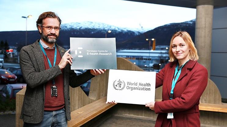 Centre Director Stein Olav Skrøvseth and WHO-coordinator Lene Lundberg. Photo: Jarl-Stian Olsen,