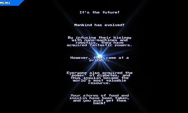 Teksten beskriver scenarioet fra spillet - en fjern fremtid hvor alle har fått diabetes. (Skjermdump fra Diabetes-spillet)