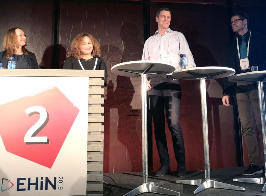 Fra v.: Leonora Onarheim Bergsjø, Maryke Silalahi Nuth, Lars Bestum og Eirik Årsand diskuterte mulighetene og utfordringene ved å dele helsedata. (Foto: Sarah McDonald Gerhardsen)