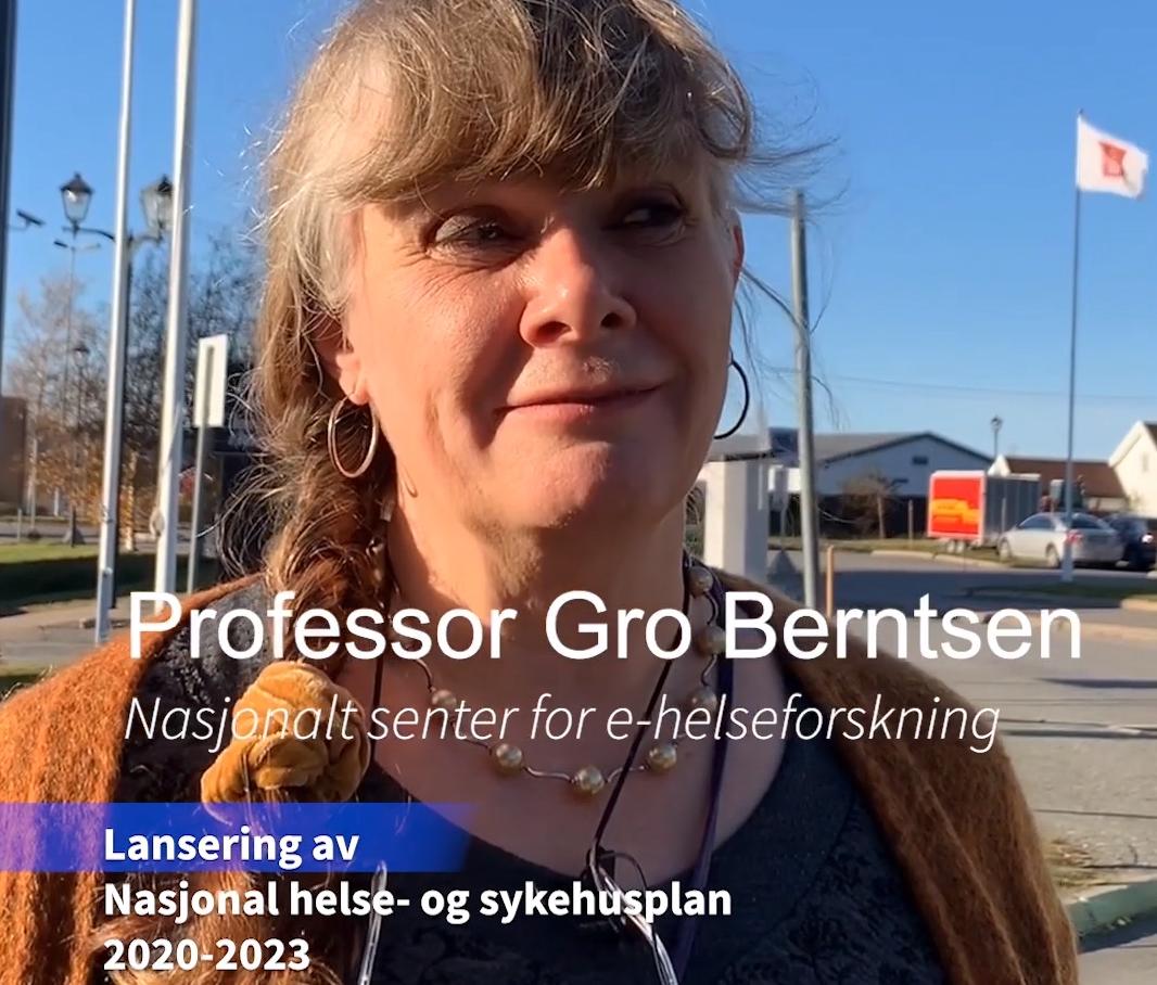 Professor Gro Berntsen. Skjermbilde av video av Nasjonalt senter for e-helseforskning.