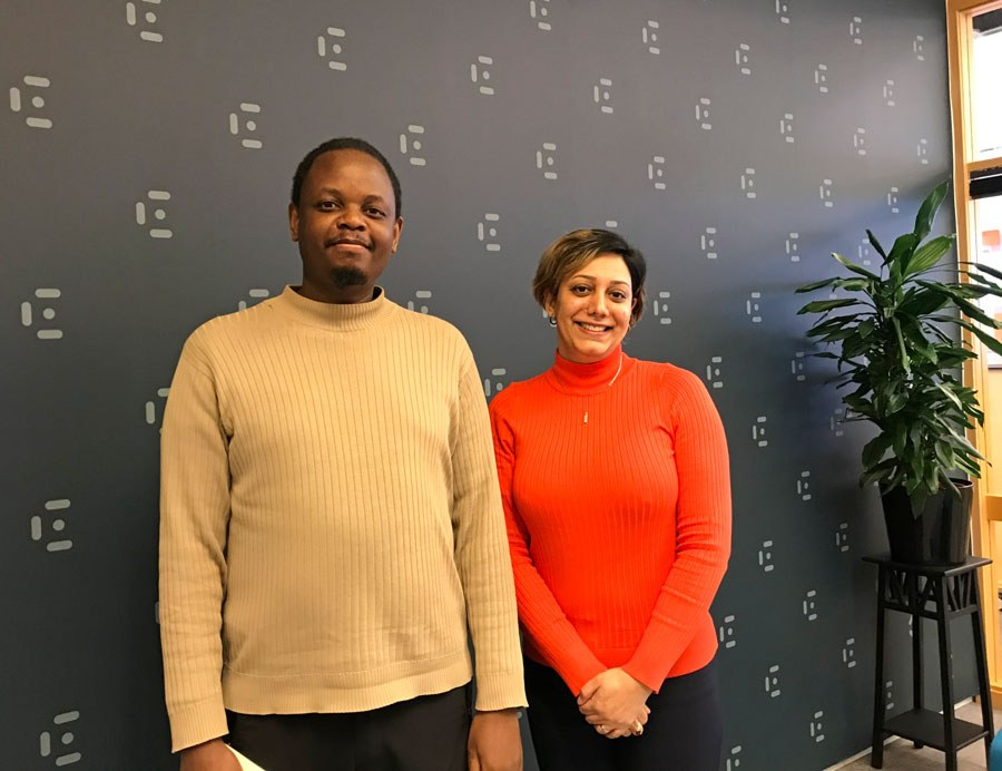 E-health researchers (from left) Taridzo Chomutare and Maryam Tayefi Nasrabadi look forward to the exciting workshop about NLP, March 10th in Tromsø. Photo: Lene Lundberg