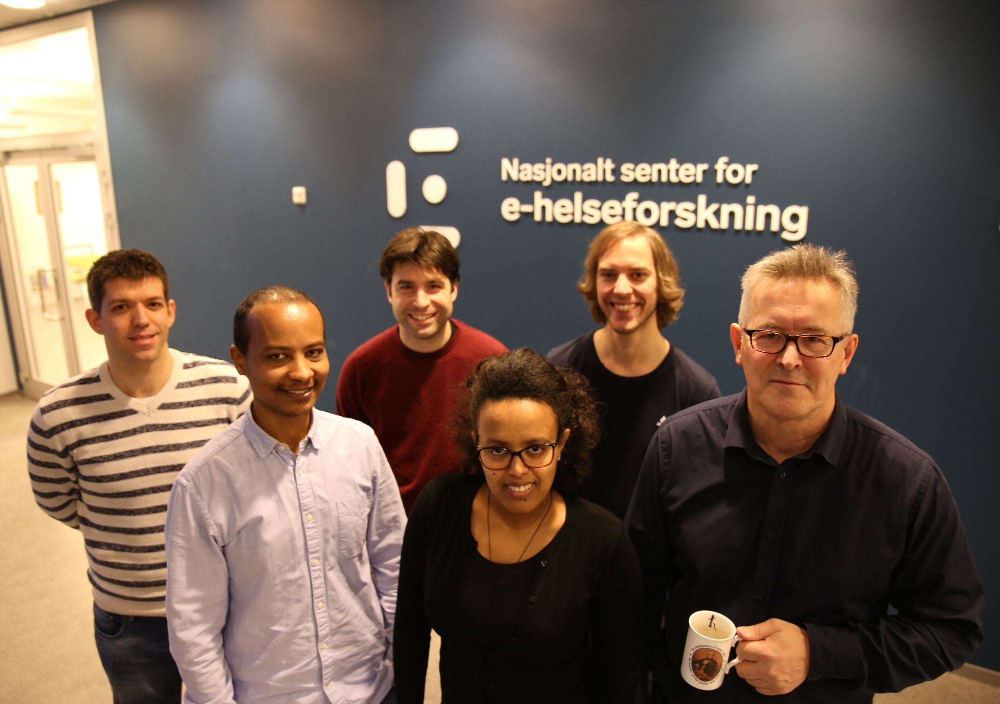 Some of the people on the health data team, from left: Joseph Hurley, Kassaye Yigzaw, Luis Marco-Ruiz, Meskerem Asfaw, Torje D. Henriksen and Johan Gustav Bellika. Photo: Lene Lundberg