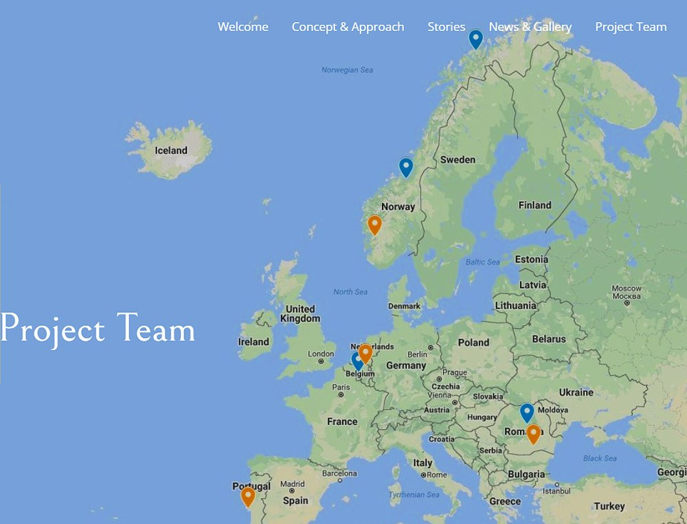 Collaborating countries are Norway, Belgium, Romania and Portugal. (Illustration from the project's web page).